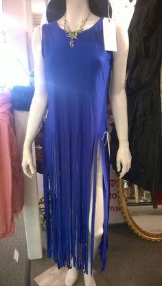 Blue spandex maxi fringe top.   sz M  sunnymoonboutique.com