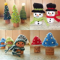 Here's a quick and easy set of free patterns to help you yarn bomb those fizzy wine corks and get them all ready for the festive season. Great as tree or shelf ornaments and a good excuse to crack open another bottle of Prosecco!