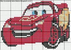 Cat Cross Stitches, Cross Stitch Charts, Disney Cars, Walt Disney, Minnie Baby, Fuse Beads, Perler Beads, Lightning Mcqueen, Beaded Ornaments