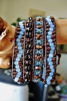 AQUA WAVE 4 Wrap Leather Bracelet featuring AQUAMARINE & Smoky Quartz, Czech Fire-Polished/Cubes/Seed Beads, a vintage Czech Glass Button