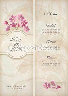 Vetor floral decorativo casamento menu ou convite modelo de design com um lindo buquê de padrão de papel de parede decorativo abstrato flores cor de rosa no fundo grunge texturado em estilo vintage — Vetor de Stock © kostins #19948535