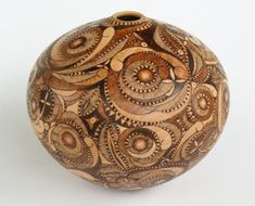 """Woodburned bowl. Maple Hollow Form with Pyrographic Design by Georgianne Jackofsky 5"""" diameter 4"""" high"""