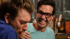 Link is enjoying Rhett's misery. From Good Mythical Morning episode Insult to Injury.