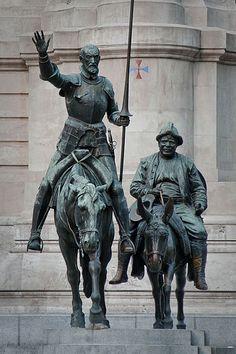 Bronze statues of Don Quixote and Sancho Panza at the Plaza de Espana in Madrid, Spain