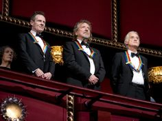 "Led Zeppelin keyboardist/bassist John Paul Jones, singer Robert Plant & guitarist Jimmy Page, stand during the Kennedy Center Honors when Heart performed ""STAIRWAY TO HEAVEN"" in their honor. It made Robert Plant cry tears of joy. AWESOME performance. Watch > http://www.youtube.com/watch?v=JK_DOJa99oo"