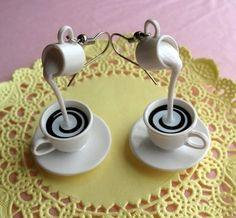 Coffee Fan Art: Coffee with Cream Earrings I Love Coffee, Coffee Break, Morning Coffee, Drink Coffee, Coffee Coffee, Coffee Time, Coffee Shop, Biscuit, Cream Earrings