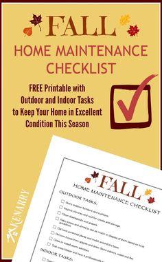 I need this! Free Printable Fall Home Maintenance Checklist