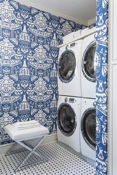 blue and White Laundry Room. Interior Design by Kevin Walsh of Bear-Hill Interiors, Little Rock, Arkansas. Photography by Rett Peek.