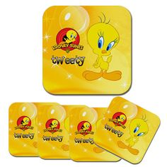 new 4 pcs tweety bird drinks rubber coaster coasters from hong kong