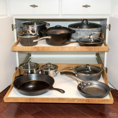 Space Hacker: DiY Slide-Out Shelves. Learn how to reclaim your countertops by making DiY slide-out shelves for all of your kitchen cabinets. Pull Out Kitchen Shelves, Diy Pull Out Shelves, Slide Out Shelves, Sliding Shelves, Diy Kitchen Cabinets, Kitchen Cabinet Organization, Diy Shelving, Kitchen Ideas, Organization Ideas