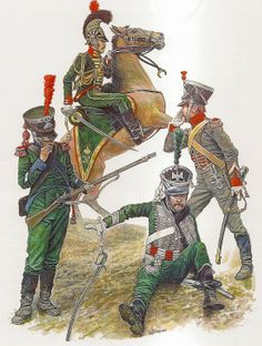 Kingdom of Westphalia 1811-12. L to R Sergeant of Light Infantry. Captain of Line Cavalry, Officer 1st Hussars Sergeant Artillery Train.