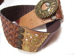Women's Belt Blocked Colors Of Brown Tan and Gold by cachecastle