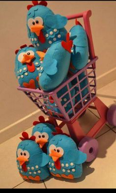 Cojines gallinita azul fiesta