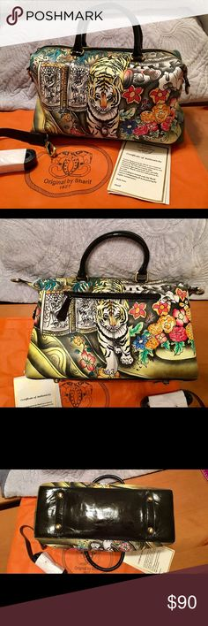 """🔹🔷 Sharif 🔷🔹 💠 Beautiful hand painted nappa leather 💠 Perfect Condition! 💠 Only used once, shoulder strap still in packaging 💠 Original inside packaging 💠 The artwork on this bag is truly awesome! 💠 I love it but it's bigger than I need 💠 14"""" X 9"""" 💠 handle drop 6"""" 💠 adjustable strap approx 40"""" 💠 🌟Certificate of Authenticity and dust bag included 🌟 💙You will not be disappointed with this bag!💙🔷Sorry no trades🔷 Sharif Bags Shoulder Bags"""