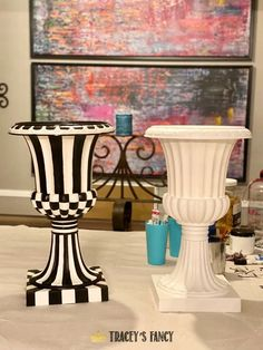 Funky Painted Furniture, Paint Furniture, Furniture Makeover, Pumpkin Fairy House, Mackenzie Childs Inspired, Mckenzie And Childs, Hm Home, Porch Decorating, Diy Painting