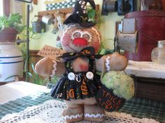 Handmade primitive HP gingerbread Halloween shelf sitter, bowl filler, cupboard #NaivePrimitive