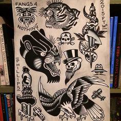 Great Painting by Jason Phillips. Mens Side Tattoos, Leg Tattoos, Body Art Tattoos, Tattoo Flash Sheet, Tattoo Flash Art, Throat Tattoo, Traditional Style Tattoo, Tatuagem Old School, Tattoo Illustration