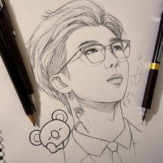 Kpop Drawings, Art Drawings Sketches Simple, Pencil Art Drawings, Drawing Bts, Bts Rap Monster, Fan Art, Bts Chibi, Kpop Fanart, Bts Pictures