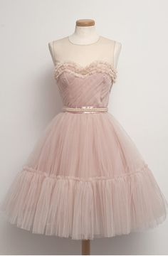 Blush Pink A-line Short Prom Dress with Layered