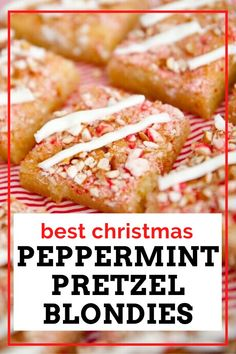 Do you ever get those big bags of white chocolate and peppermint covered pretzels at Costco around the holidays? These easy Peppermint Pretzel Blondies whip up quick, and are such a festive treat to make for your Christmas dinner.