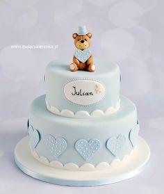 Baby boy christening cake by Natalia Kudela Baby Birthday Cakes, Baby Boy Cakes, Cakes For Boys, Girl Cakes, Torta Baby Shower, Idee Baby Shower, Christening Cake Designs, Baby Boy Christening Cake, Gateau Baby Shower Garcon