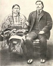George Bent and his wife, Magpie George Bent, also named Ho--my-ike in Cheyenne (1843 – May 19, 1918), was a Cheyenne-American who became a Confederate soldier during the American Civil War and waged war against Americans as a Cheyenne warrior afterward. He was the mixed-race son of Owl Woman, daughter of a Cheyenne chief, and the American William Bent, founder of the trading post named Bent's Fort and a trading partnership with his brothers and Ceran St. Vrain.