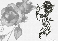 Tribal wolf with rose embroidery design  downloadable by EmbroSoft