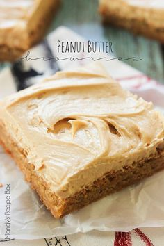 Peanut Butter Brownies on Mandy's Recipe Box These Peanut Butter Brownies are perfectly soft, chewy and full of peanut butter flavor! The frosting is just amazing and can be used on many different desserts.