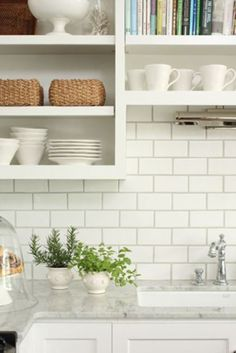 kitchen idea of the day: creamy subway tile backsplash behind the