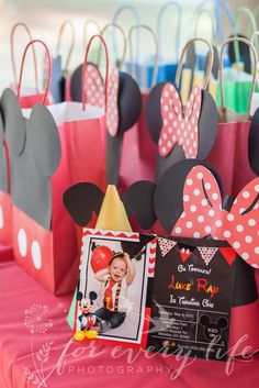 Mickey Mouse themed decorations and party favors for a birthday party or special event - from Etsy. First birthday party decorations for a boy. Boy's first birthday