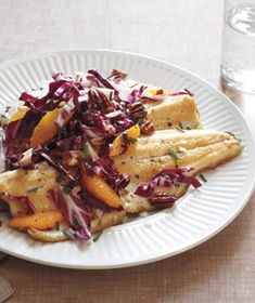 Trout With Wild Rice, Radicchio, and Oranges Recipe from realsimple.com. #myplate #protein #veggies #fruit