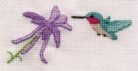 TONS of free bird cross stitch patterns.  This one is  a Hummingbird and Columbine.