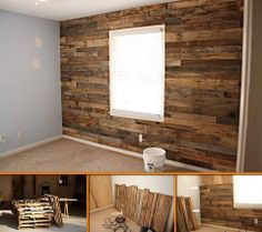 Make an accent wall with repurposed pallets! Learn how by viewing the full album of the project at http://theownerbuildernetwork.co/8ayf Could this be your next project?