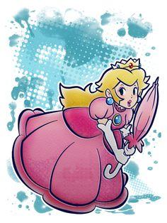 Princess Peach with her Parasol by ~SaladBowl on deviantART