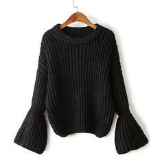 SheIn(sheinside) Black Drop Shoulder Lantern Sleeve Oversized Sweater ($26) ❤ liked on Polyvore featuring tops, sweaters, black, long sleeve tops, round neck top, over sized sweaters, oversized long sleeve top and long sleeve pullover