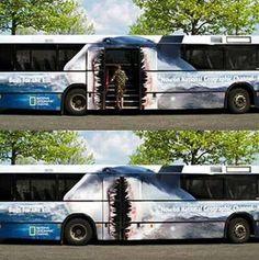Creative shark week marketing: bus advertising