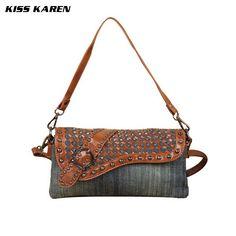 KISS KAREN Casual Fashion Denim Bag Women Totes Lady Handbags ... 508040cd3b1b6