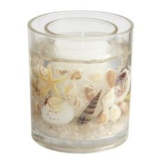 Sea Air Starfish Gel Candle- matches my bathroom perfectly. Diy Candles Scented, Gel Candles, Homemade Candles, Candle Lanterns, Pillar Candles, Bathroom Candles, Wax Tablet, Seashell Candles, Ocean Home Decor