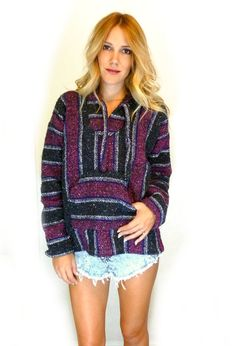 90s Mexican BAJA Hoodie Surfer Hooded Sweathsirt WOVEN Pullovers - I had one these sweatshirts lol