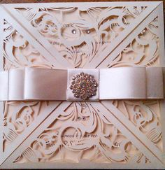 """Laser Cut Ivory Wedding Invitation """"Sylvia"""" with Double Bow Belly Band by CraftyDesignerme on Etsy"""