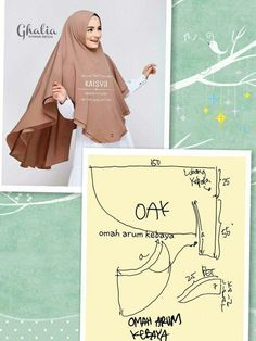 Tutor jahit jilbab - Her Crochet Abaya Fashion, Muslim Fashion, Dress Sewing Patterns, Clothing Patterns, Tudung Shawl, Hijab Mode, Abaya Pattern, Hijab Style Tutorial, Turban Hijab