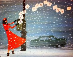 Blowing snow, art deco lady, and the letters being carried off in the wind.  It's perfect.