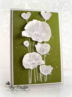 vellum card...luv the use of vellum for the white embossed poppies that were then cut out and attatched to the dark olive color layer...