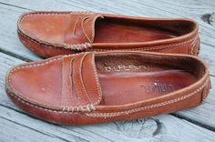 Vintage 80s 90s Preppy Tailored Unisa Brown driving mocs moccasins loafers flats shoes size 7.5 by MaidenhairVintage, $40.00