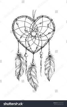 Find Hand Drawn Ethnic Dreamcatcher Heart Coloring stock images in HD and millions of other royalty-free stock photos, illustrations and vectors in the Shutterstock collection. Dream Tattoos, Dog Tattoos, Cute Tattoos, Animal Tattoos, Sleeve Tattoos, Atrapasueños Tattoo, Coeur Tattoo, Dream Catcher Drawing, Dream Catcher Tattoo Design