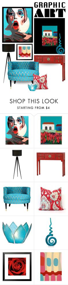 """""""Red and Aqua"""" by missbeaheyvin ❤ liked on Polyvore featuring interior, interiors, interior design, home, home decor, interior decorating, Adesso, Universal Lighting and Decor, Emma At Home and graphicart"""