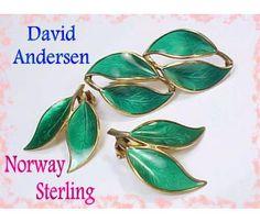 David Andersen Norway Sterling Silver Double Leaf Green Guilloche Enamel Brooch & Earrings Set Vintage Jewelry $125  www.FindMeTreasure.com  CLICK TWICE ON PHOTO TO BUY