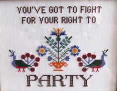 DIY KIT  Fight For Your Right To Party by PurpleHippoStitches, $20.00