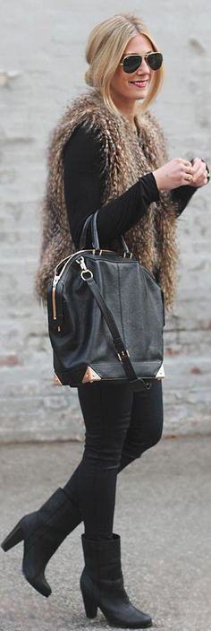 Faux Fur and Black Street chic