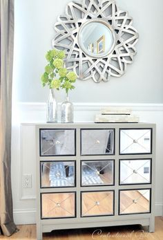 Mirrored Apothecary Chest in French Linen Chalk Paint® decorative paint by Annie Sloan | Via Centsational Girl.